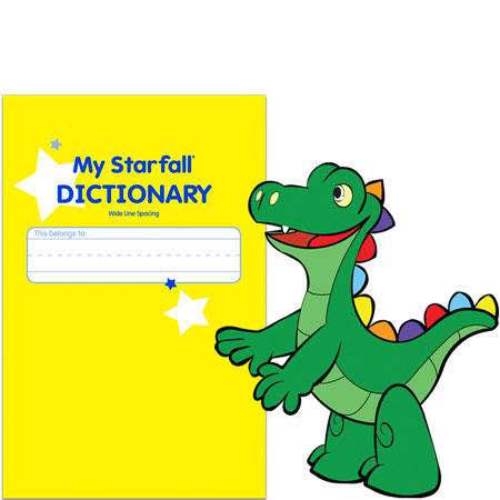 My Starfall Dictionary with a friendly dragon nearby