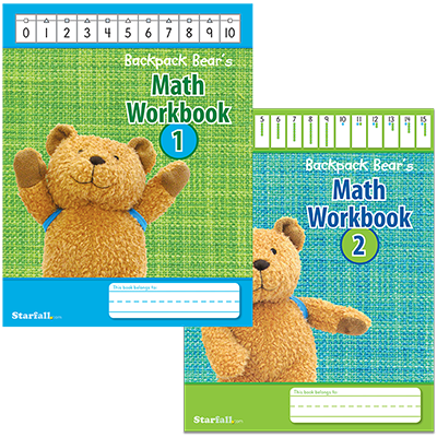 Detailed view of Backpack Bear's Math Workbooks 1 & 2