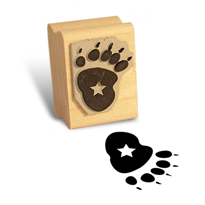 Detailed view of Backpack Bear's Paw Print Stamp