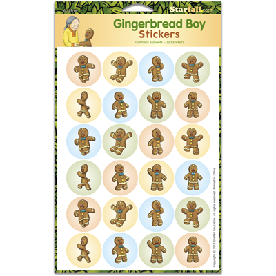 Detailed view of Gingerbread Boy Stickers