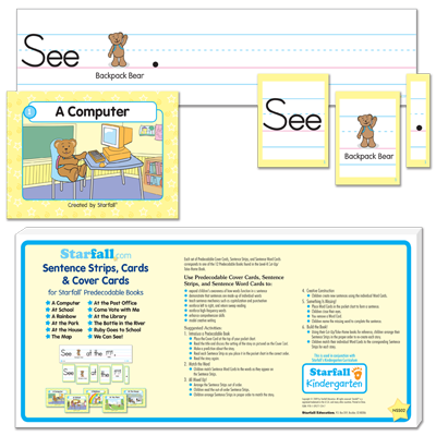 Detailed view of Sentence Strips, Cards & Cover Cards for Backpack Bear's Predecodable Books
