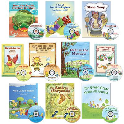 Detailed view of Set of 10 Folk Tales and Fables Books with Read-Along CDs