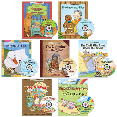 Detailed view of Set of 7 Fairy Tale books with Read-Along CDs
