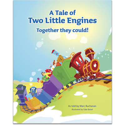 Detailed view of A Tale of Two Little Engines