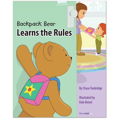 Detailed view of Backpack Bear Learns the Rules