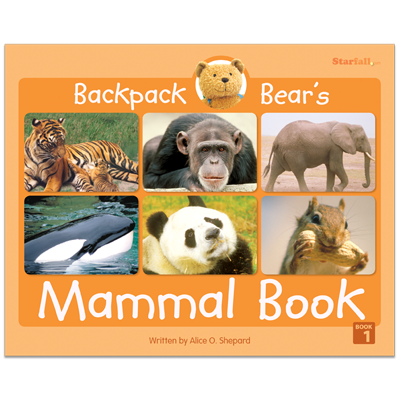 Detailed view of Backpack Bear's Mammal Book
