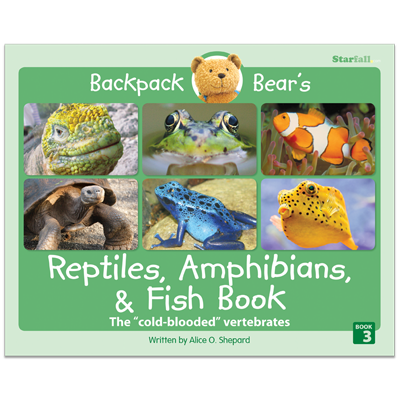 Detailed view of Backpack Bear's Reptiles, Amphibians, & Fish Book